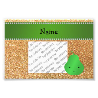 Personalized name pear pastel yellow glitter photo