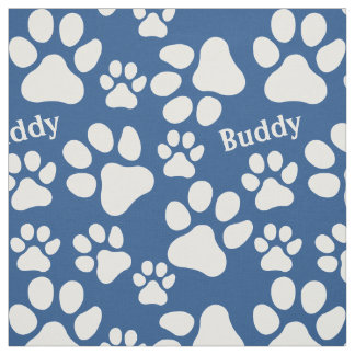 Personalized Name Ped Dog Paw Print Blue Pattern Fabric