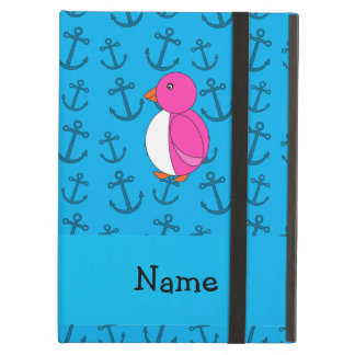Personalized name penguin blue anchors pattern iPad case