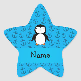 Personalized name penguin blue anchors pattern star sticker