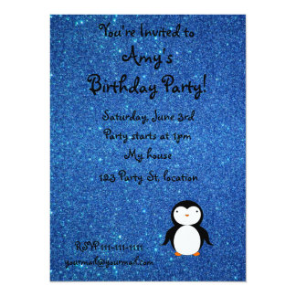 Personalized name penguin blue glitter 5.5x7.5 paper invitation card