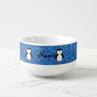 Personalized name penguin blue glitter soup mug