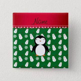 Personalized name penguin green snowmen snowflakes 15 cm square badge