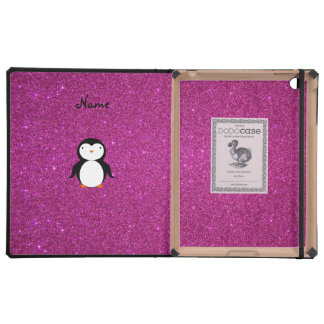 Personalized name penguin pink glitter iPad case