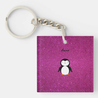 Personalized name penguin pink glitter Double-Sided square acrylic key ring