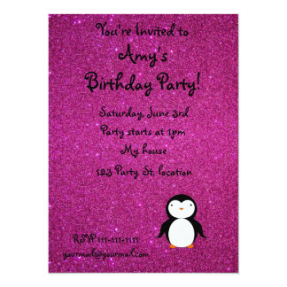 Personalized name penguin pink glitter 5.5x7.5 paper invitation card