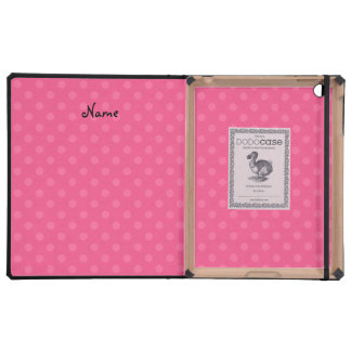 Personalized name penguin pink polka dots cover for iPad