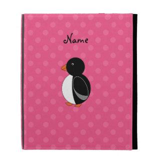 Personalized name penguin pink polka dots iPad folio case