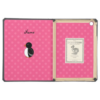 Personalized name penguin pink polka dots case for iPad air