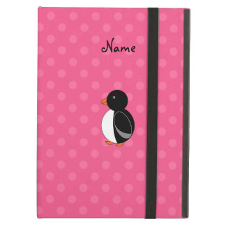 Personalized name penguin pink polka dots iPad case