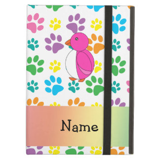 Personalized name penguin rainbow paws case for iPad air