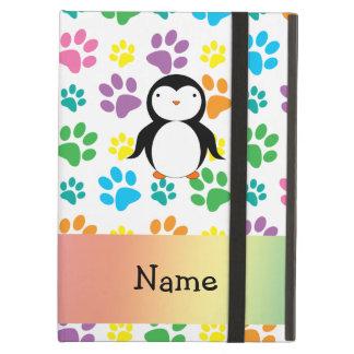 Personalized name penguin rainbow paws iPad case