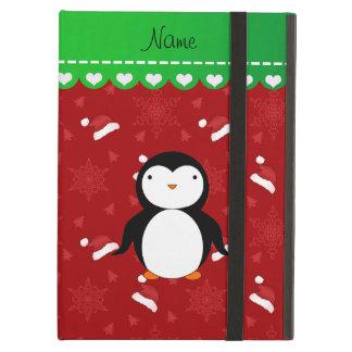 Personalized name penguin red santa hats snowflake iPad air cover