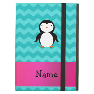 Personalized name penguin turquoise chevrons iPad cases