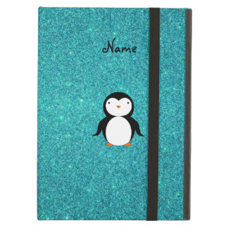 Personalized name penguin turquoise glitter case for iPad air