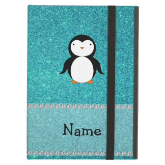 Personalized name penguin turquoise glitter iPad cases