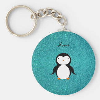 Personalized name penguin turquoise glitter key ring