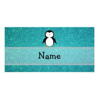 Personalized name penguin turquoise glitter customized photo card