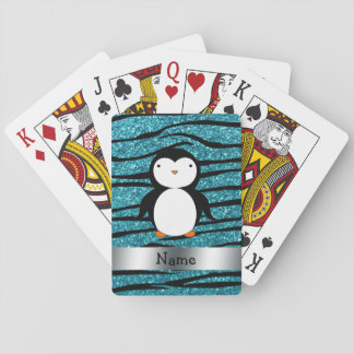 Personalized name penguin turquoise glitter zebra playing cards