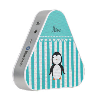 Personalized name penguin turquoise white stripes