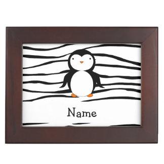 Personalized name penguin zebra stripes memory box