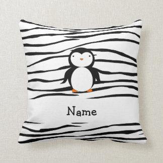 Personalized name penguin zebra stripes pillows