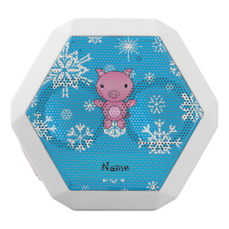 Personalized name pig blue snowflakes white boombot rex bluetooth speaker