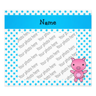 Personalized name pig blue stars art photo