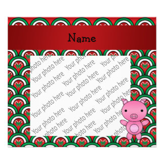 Personalized name pig candy cane bows art photo