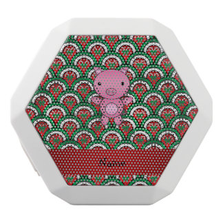 Personalized name pig candy cane bows white boombot rex bluetooth speaker