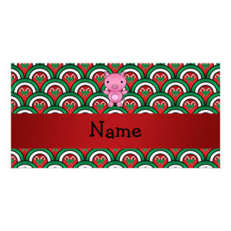 Personalized name pig candy cane bows personalized photo card
