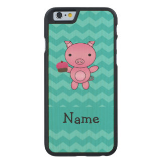 Personalized name pig cupcake turquoise chevrons carved maple iPhone 6 case