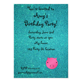 Personalized name pig face turquoise glitter 14 cm x 19 cm invitation card