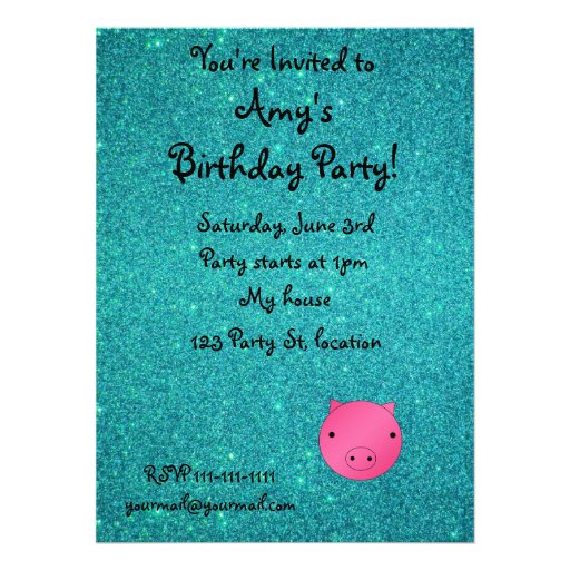 Personalized name pig face turquoise glitter custom invitation