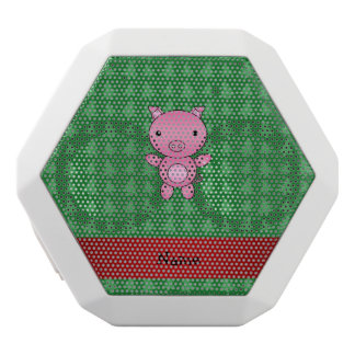 Personalized name pig green christmas trees white boombot rex bluetooth speaker