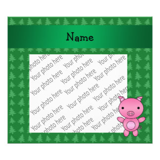 Personalized name pig green christmas trees photo