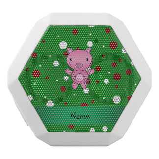 Personalized name pig green white red polka dots white boombot rex bluetooth speaker