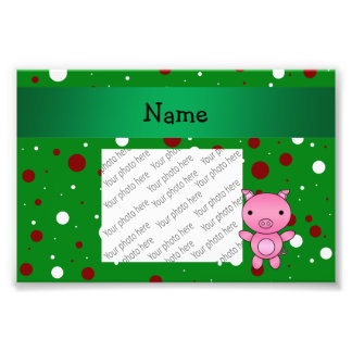 Personalized name pig green white red polka dots photo print