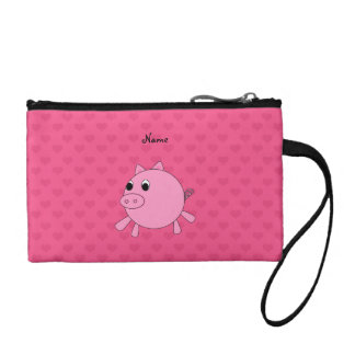 Personalized name pig pink hearts change purses