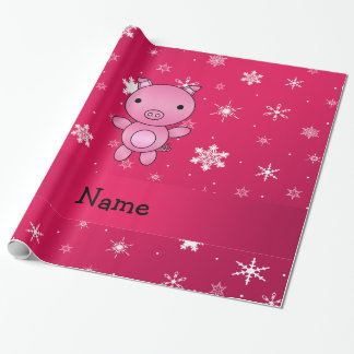 Personalized name pig pink snowflakes