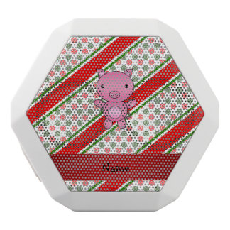 Personalized name pig polka dot snowflakes white boombot rex bluetooth speaker