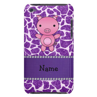 Personalized name pig purple glitter giraffe print barely there iPod case