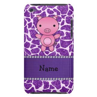Personalized name pig purple glitter giraffe print iPod Case-Mate case