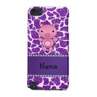 Personalized name pig purple glitter giraffe print iPod touch (5th generation) covers