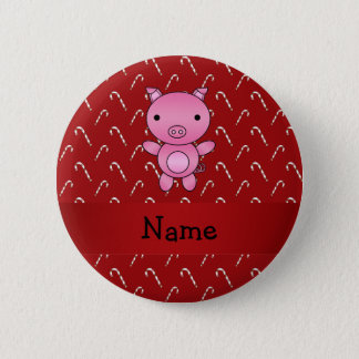 Personalized name pig red candy canes 6 cm round badge