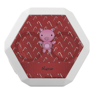 Personalized name pig red candy canes white boombot rex bluetooth speaker