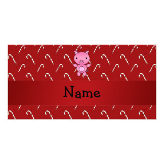 Personalized name pig red candy canes customized photo card