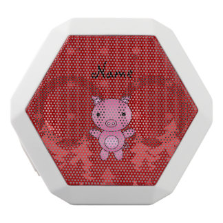 Personalized name pig red christmas trees stripes white boombot rex bluetooth speaker
