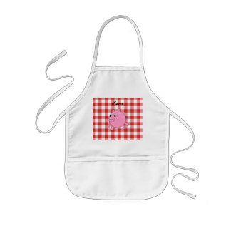 Personalized name pig red gingham pattern kids apron