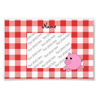 Personalized name pig red gingham pattern photographic print